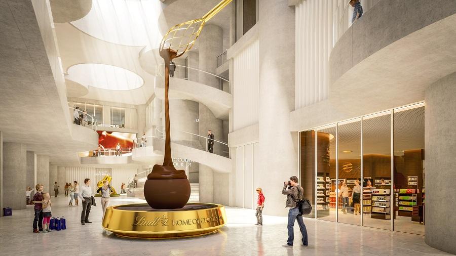 Lindt открыл Музей Шоколада с гигантским шоколадным фонтаном