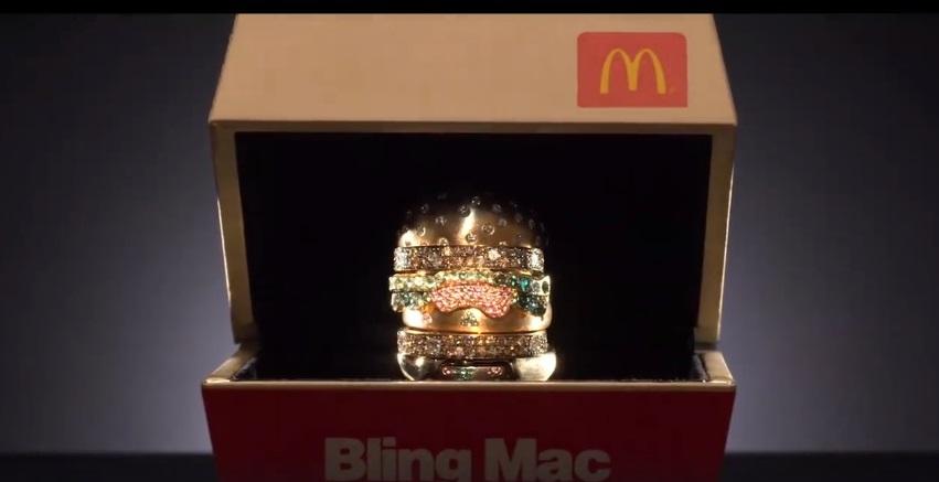 Макдоналдс разыгрывает бриллиантовое кольцо в форме Биг Мака
