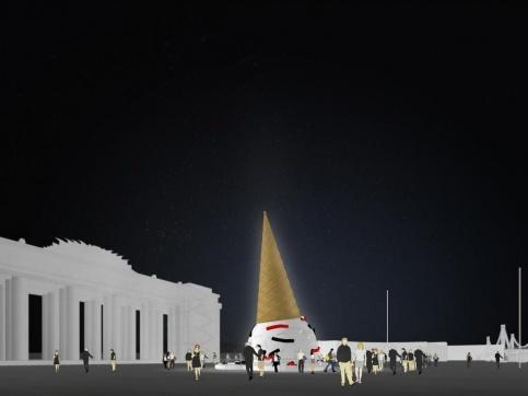 Главный вход Парка Горького украсит арт-елка в виде рожка с мороженым