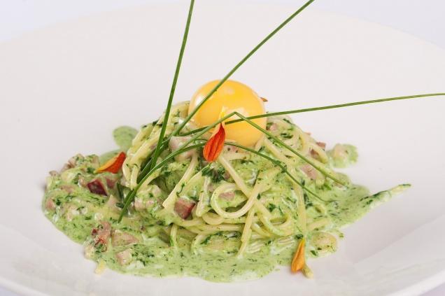 Спагетти карбонара с зеленым пером и яйцом